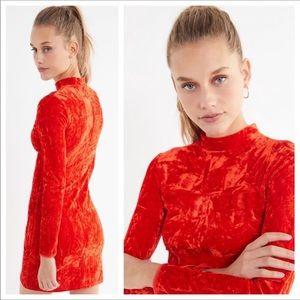 UO Bright Red Crushed Velvet Mockneck Dress